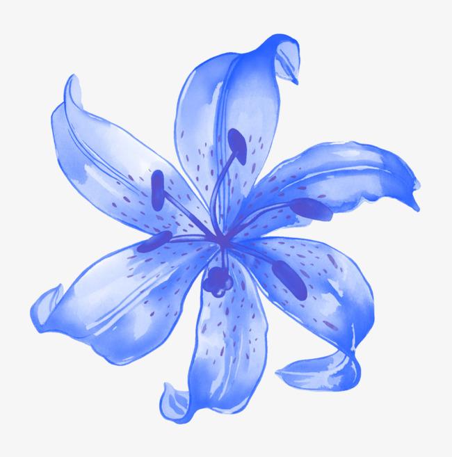 手绘蓝色花朵装饰图片png素材-90设计