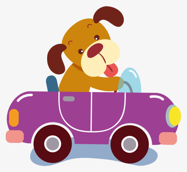 卡通手绘紫色小狗开汽车