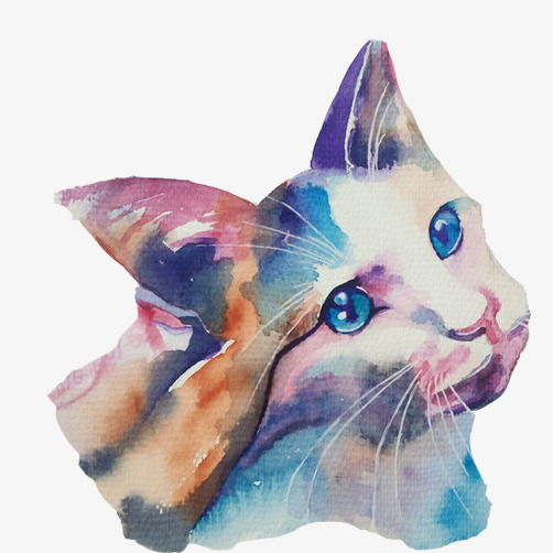 猫咪头像手绘图免抠素材