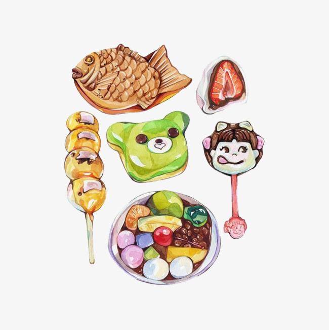 手绘儿童零食小吃
