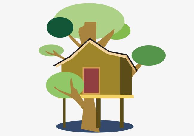 卡通树上小房子