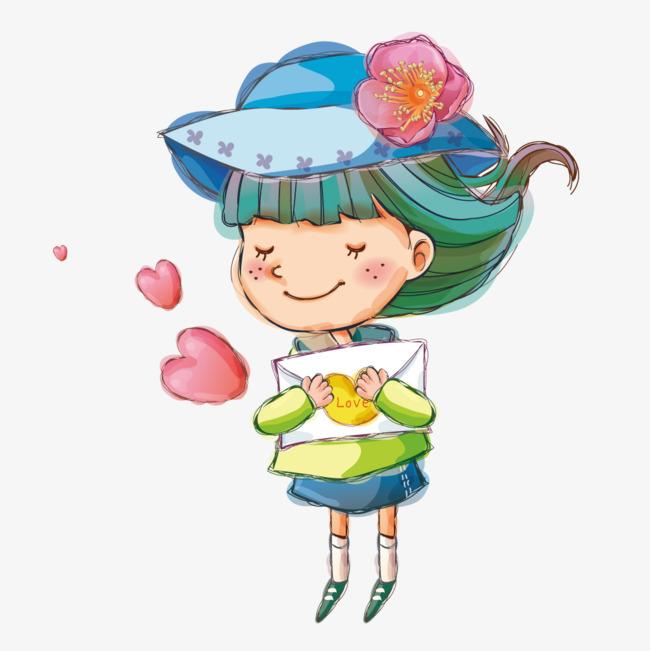 水彩手绘手拿信封的可爱小女孩图片