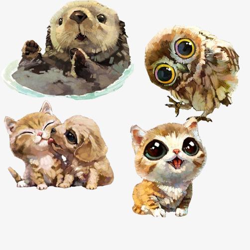 小动物手绘萌图素材图片