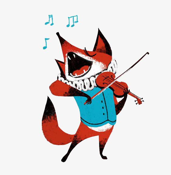 拉小提琴的狐狸图片