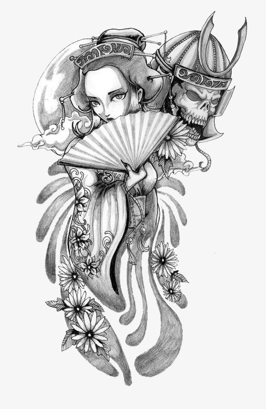 手绘日本艺妓素材图片