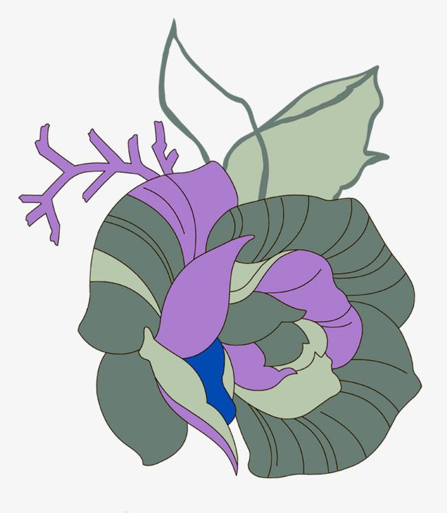 手绘线描效果玫瑰花
