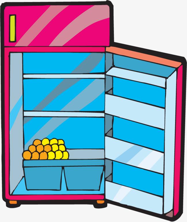 矢量手绘开着门的冰箱图片