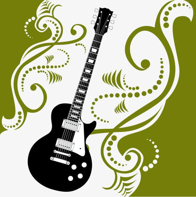 绿色花纹黑白剪影吉他矢量png素材-90设计