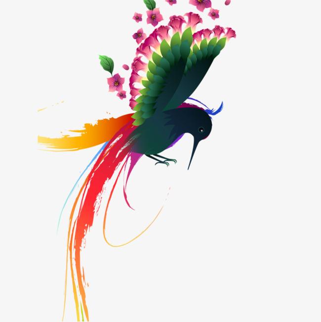 彩色手绘飞鸟