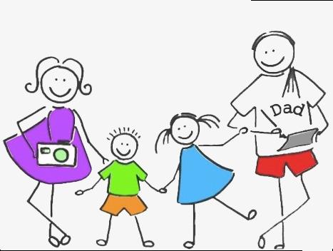 幸福家庭简笔画卡通合影