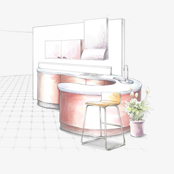 彩铅手绘厨房免费图片