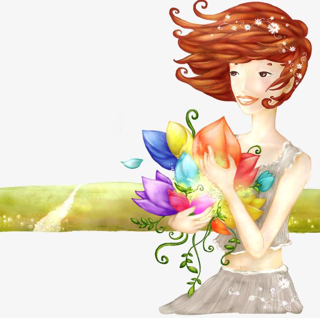卡通手绘抱花的女人素材