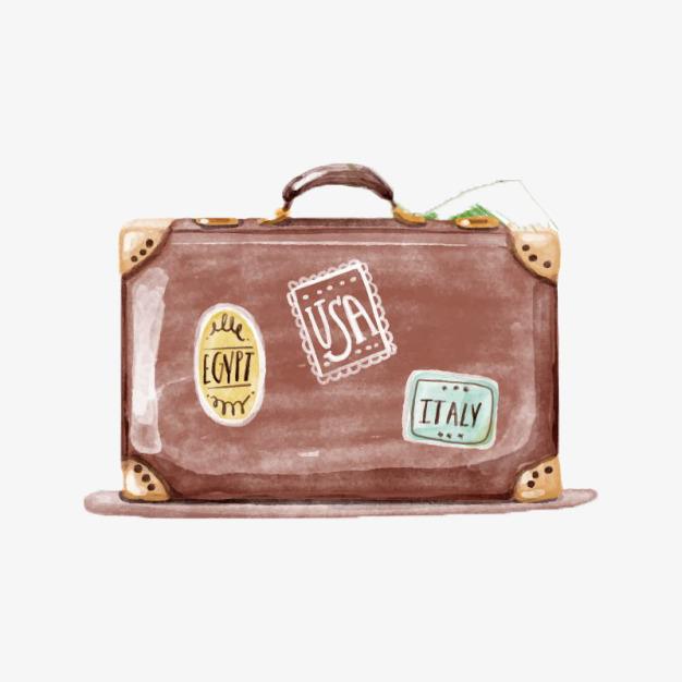 复古水彩行李箱包