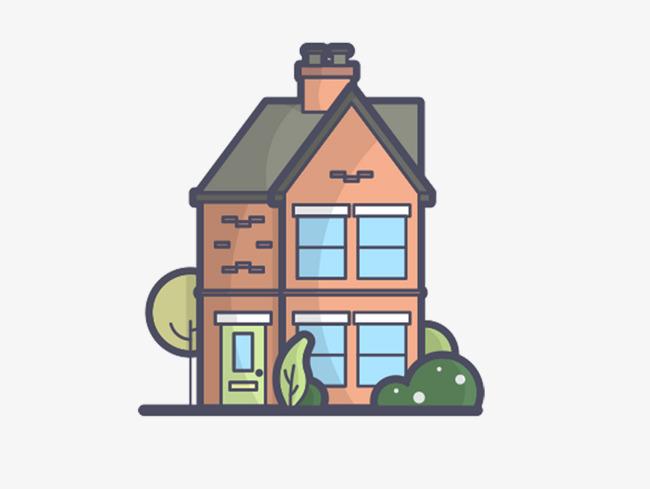 可爱小房子插画素材【高清装饰元素png素材】-90设计