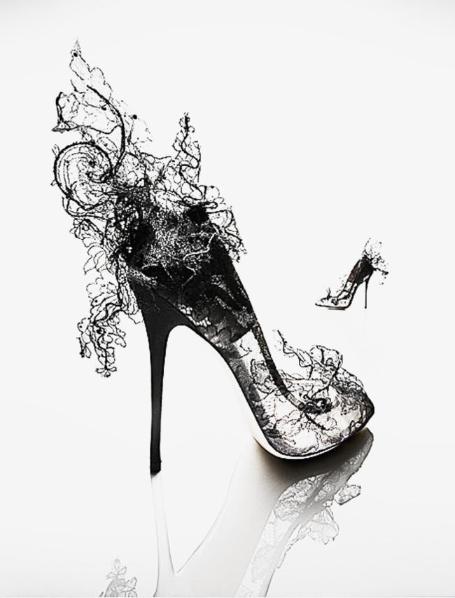 唯美黑白手绘高跟鞋