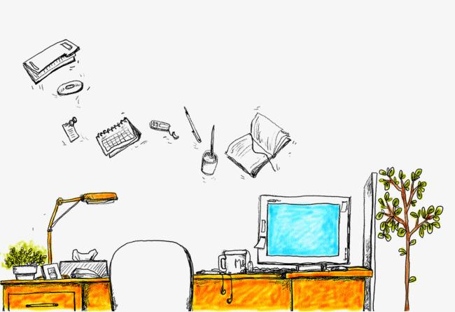 手绘电脑桌学习学生素材