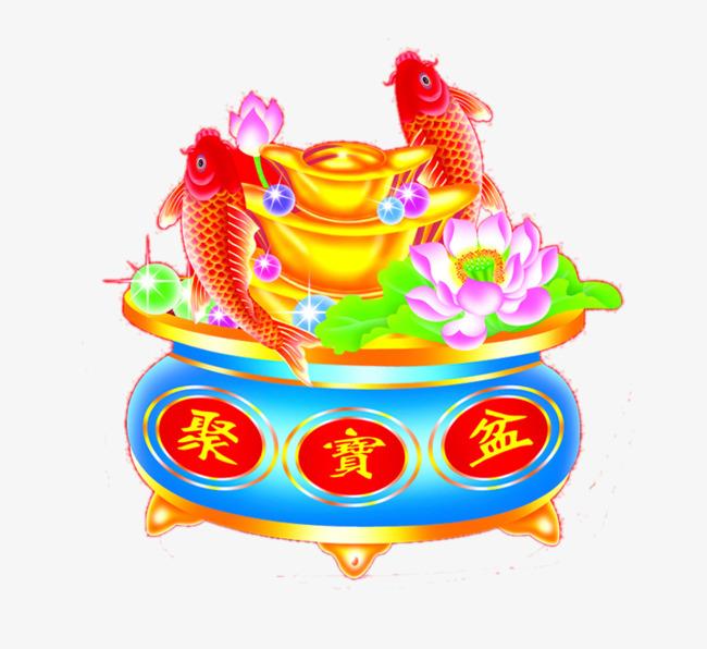 聚宝盆鲤鱼跳龙门图片