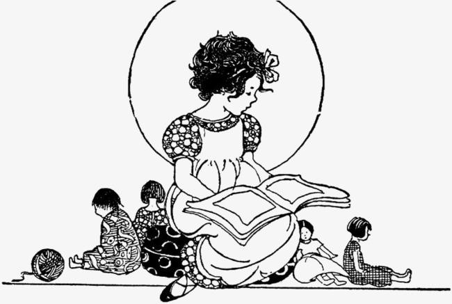 手绘看书的人玩偶