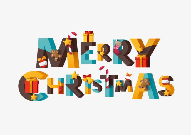 圣诞快乐花式艺术字免费图片png素材-90设计