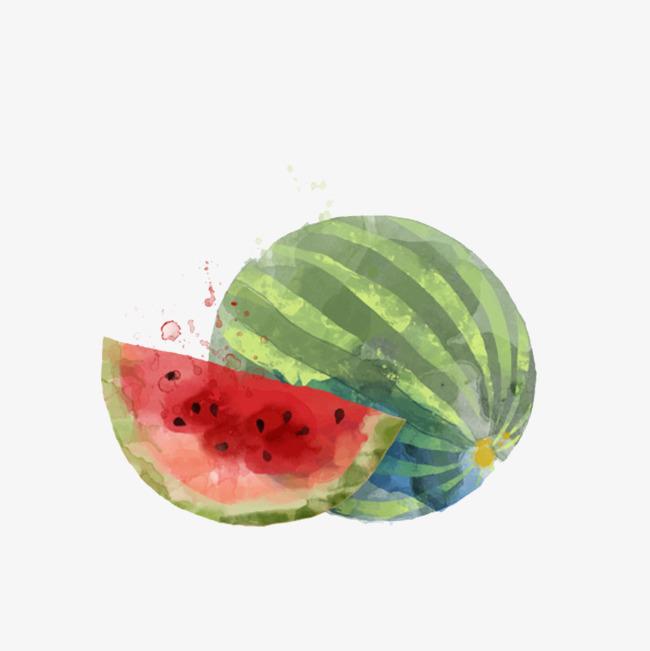 西瓜水彩手绘