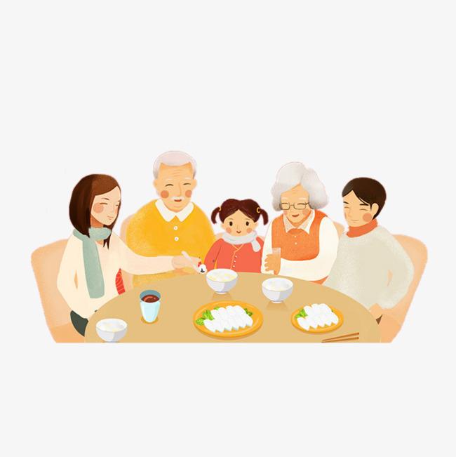 卡通一家人围桌吃饭素材图片免费下载 高清卡通手绘png 千库网 图片