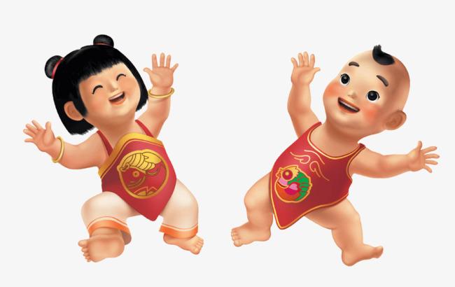 可爱的中国风肚兜娃娃