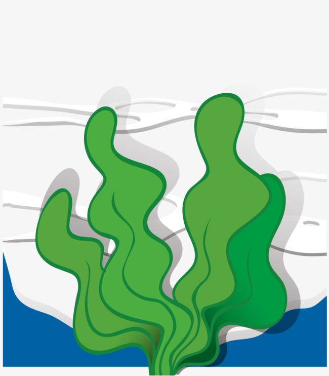 卡通手绘海底绿色海草