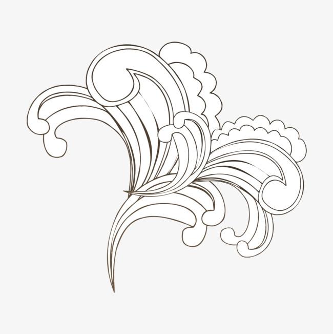 浪花线稿png素材-90设计