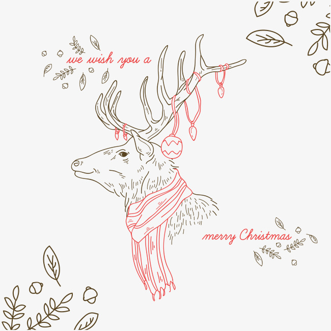 麋鹿手绘图简约