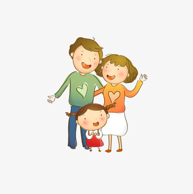 三口之家素材图片免费下载 高清卡通手绘psd 千库网 图片编号6171303