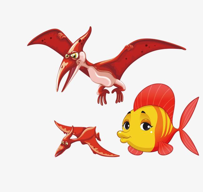 邪恶的象征翼龙和小金鱼素材图片免费下载 高清卡通手绘psd 千库网 图片编号6159865
