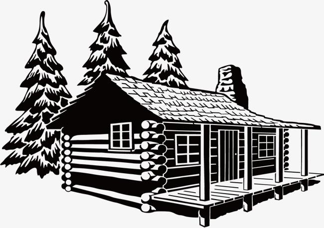 黑白手绘线稿房屋素材