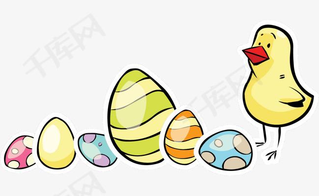 矢量手绘小鸡和彩蛋素材图片免费下载 高清节日素材psd 千库网 图片编号6178320