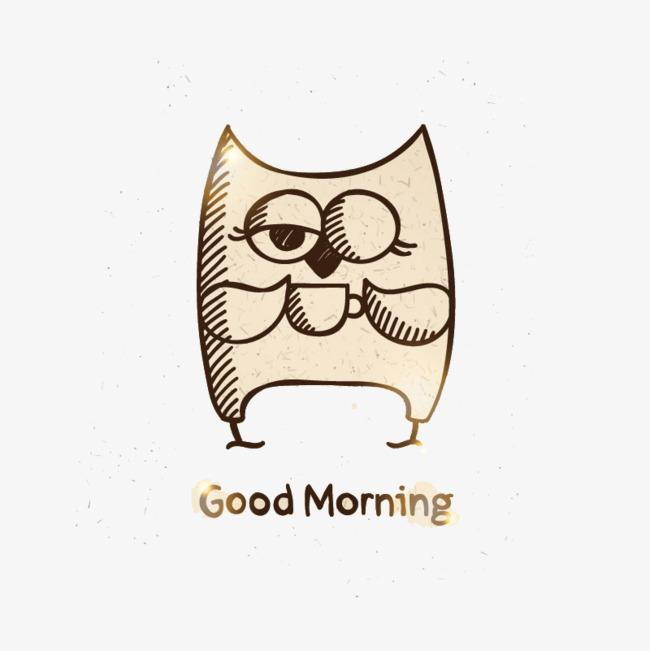 手绘喝咖啡的猫头鹰矢量素材