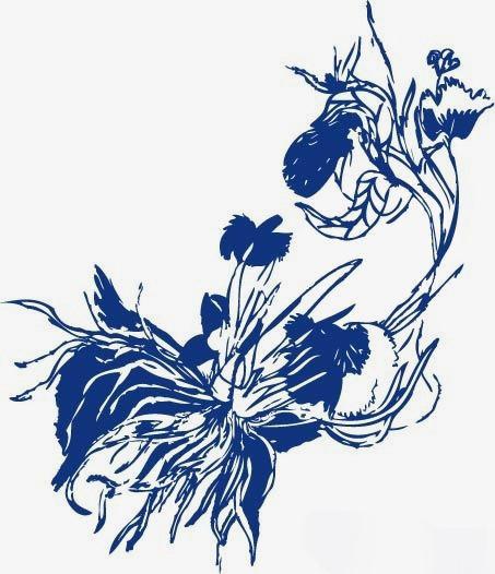 蓝色手绘印花花朵【高清效果元素png素材】-90设计