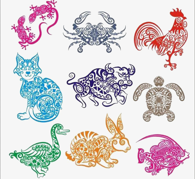 彩色中国动物剪纸元素