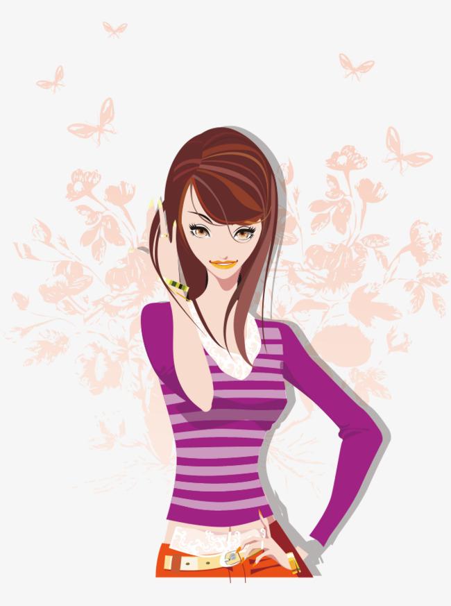 卡通手绘撩头发漂亮美女