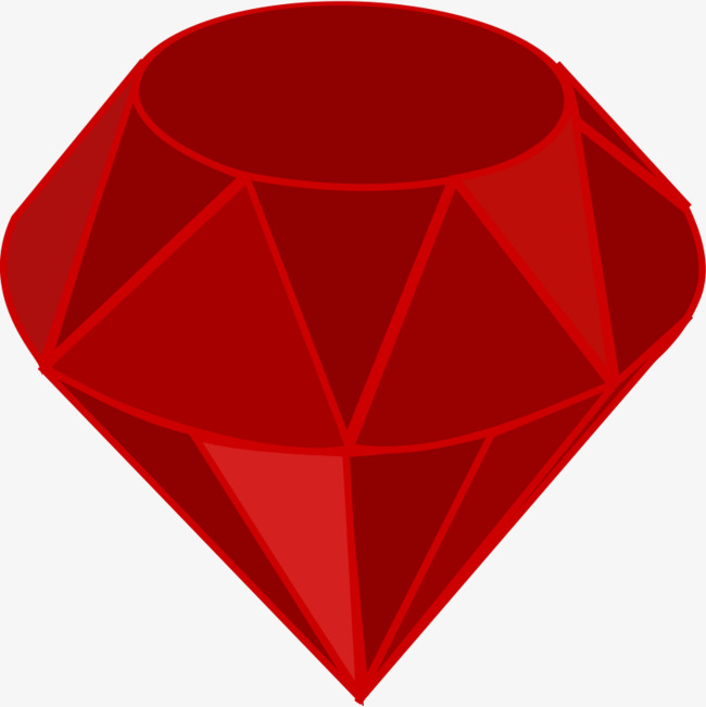 红色的卡通钻石png素材-90设计