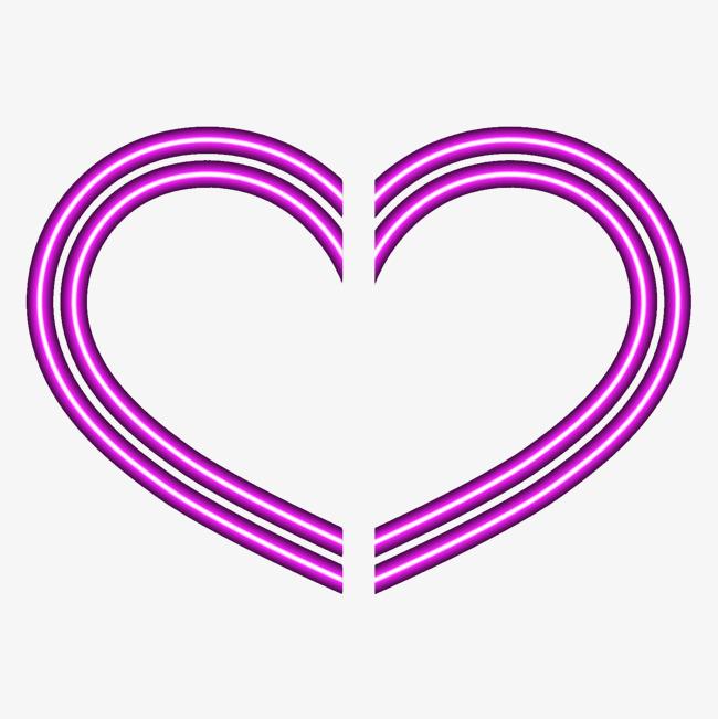 紫色线条爱心卡通图案