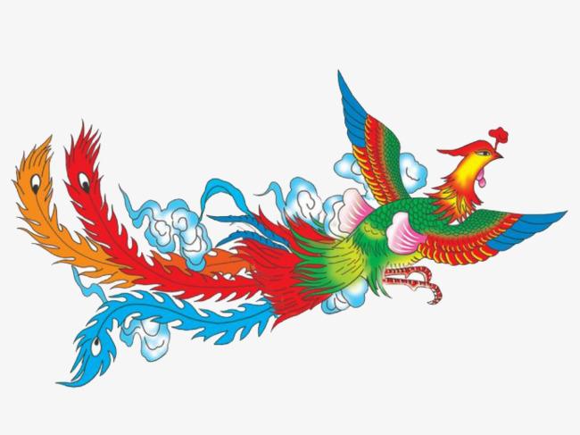 手绘 凤凰 神鸟 七彩             此素材是90设计网官方设计出品,均