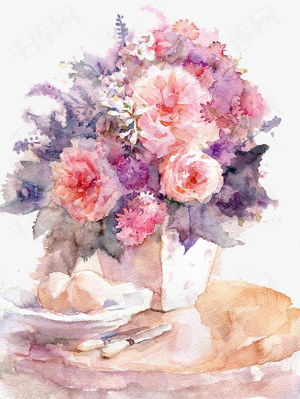 手绘花瓶鲜花花瓶手绘装饰背景