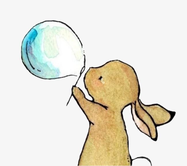 兔子吹泡泡素材图片免费下载 高清卡通手绘png 千库网 图片编号6234803