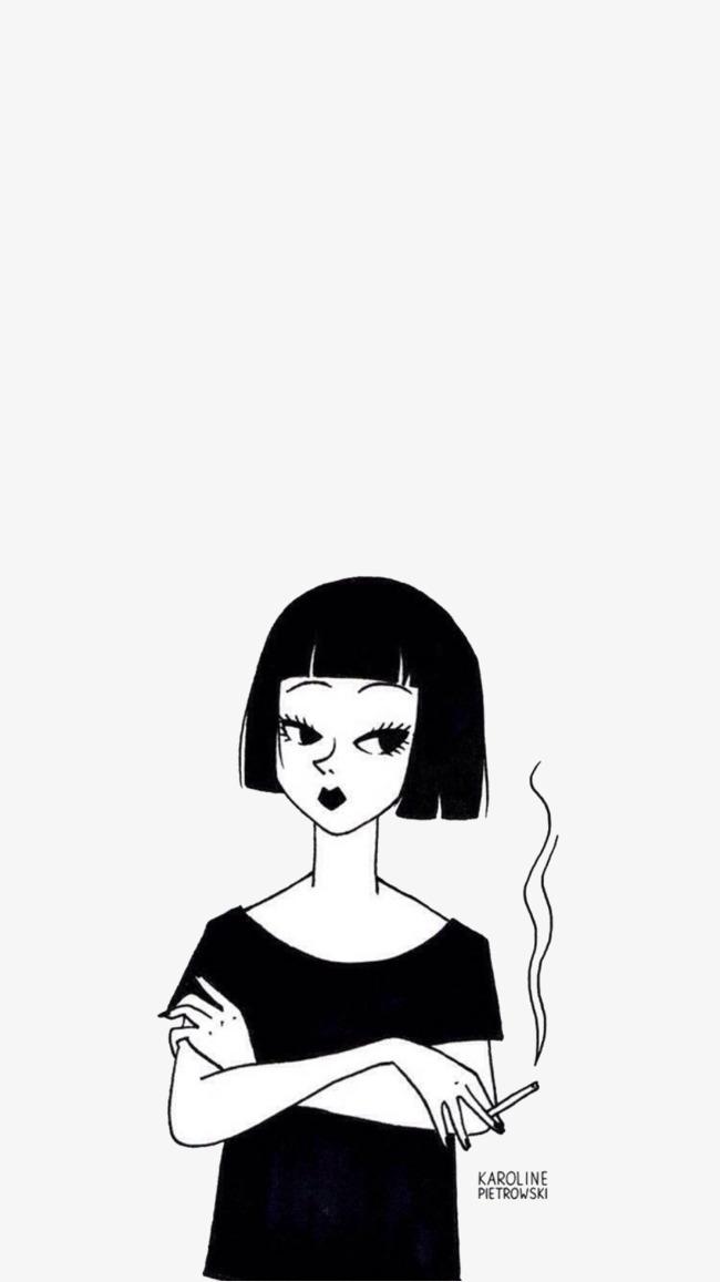 手绘线条黑白小女孩【高清png素材】-90设计