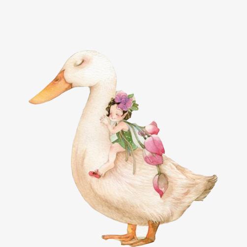 小女孩骑鸭子童趣手绘画