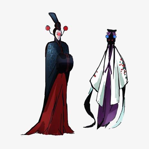 手绘动漫素材免费下载,本次游戏人设京剧花旦小生妖怪作品为设计师