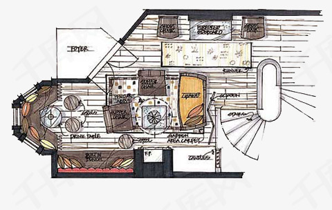 手绘客厅彩色平面图素材图片免费下载 高清卡通手绘psd 千库网 图片编号6281196