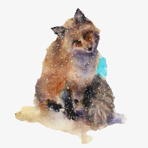 狐狸迷幻水彩画图片