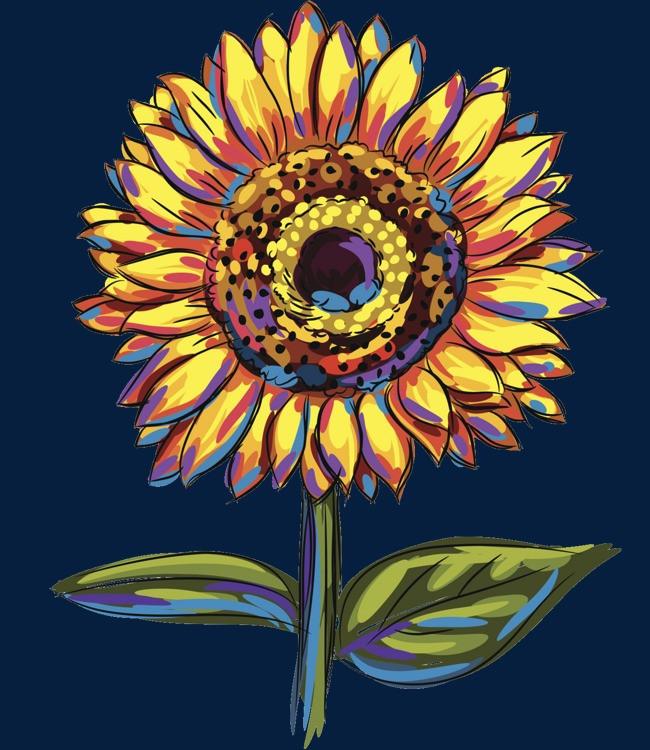 手绘卡通_手绘向日葵png素材-90设计
