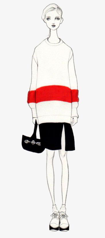 手绘白色毛衣时装模特