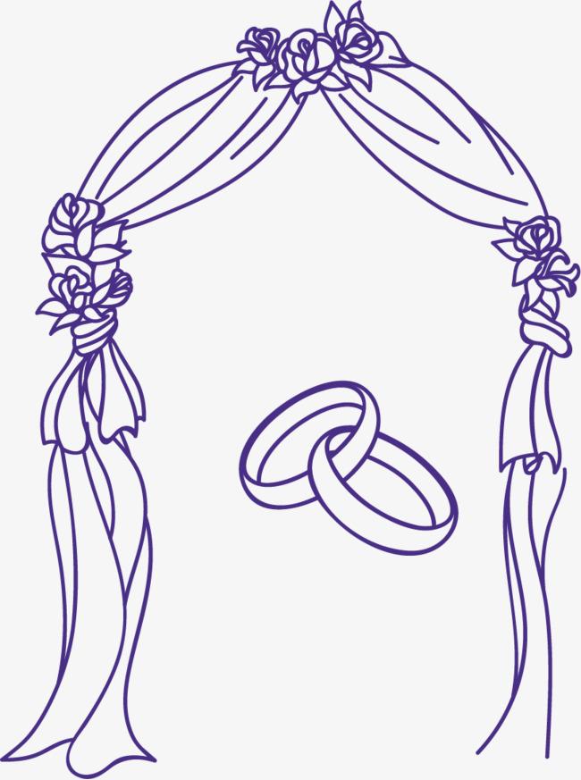 手绘线条幸福花门